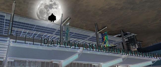 Acelin le vampire fait une apparition sur le toit du théâtre de Darwin