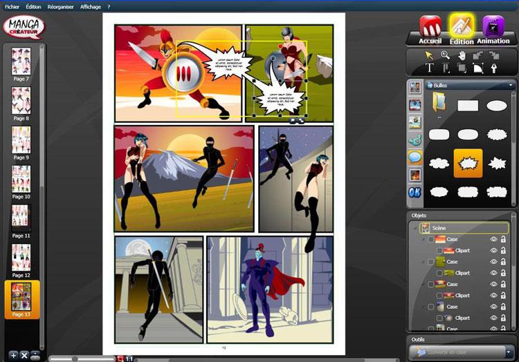 Interface du logiciel Manga Créateur